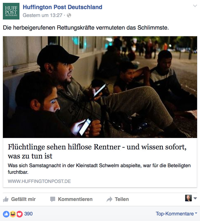 "Screenshot ""Huffington Post"" Facebook"