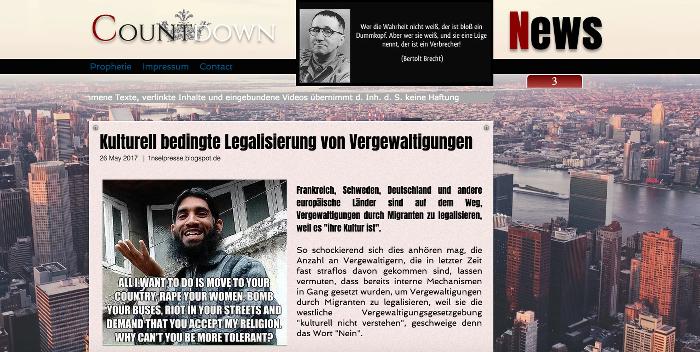 """Beitrag der Seite """"Countdown News"""", Überschrift: """"Kulturell bedingte Legalisierung von Vergewaltigungen"""""""