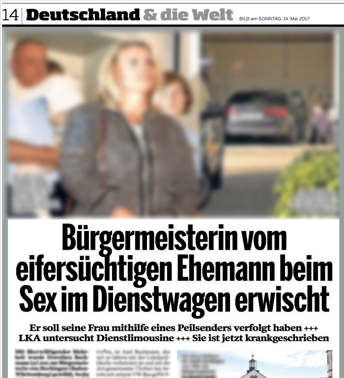 """""""Bild am Sonntag"""" über die Hechinger Bürgermeisterin, Schlagzeile: """"Bürgermeisterin vom eifersüchtigen Ehemann beim Sex im Dienstwagen erwischt"""""""