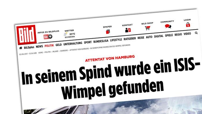 """""""Bild""""-Meldung vom 1. August 2017 zum Attentat in Hamburg, Schlagzeile: """"In seinem Spind wurde ein ISIS-Wimpel gefunden"""""""