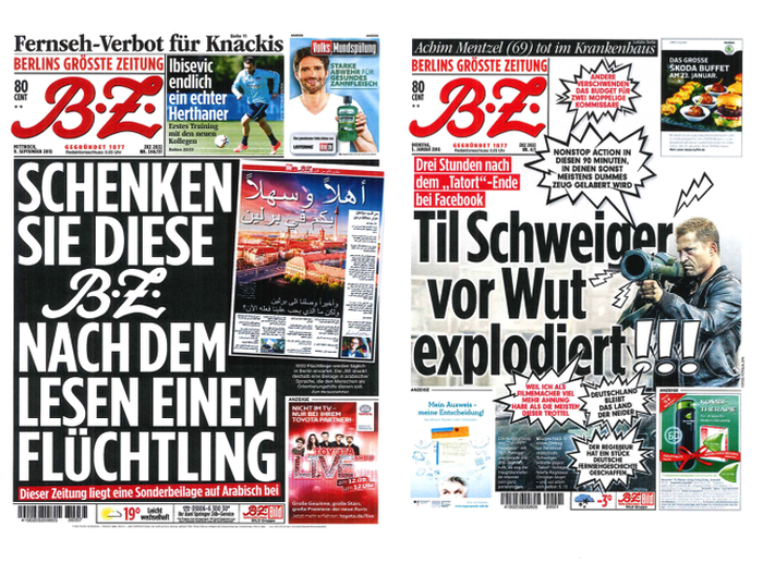 """""""B.Z."""" 9.9.2015 und 5.1.2016"""