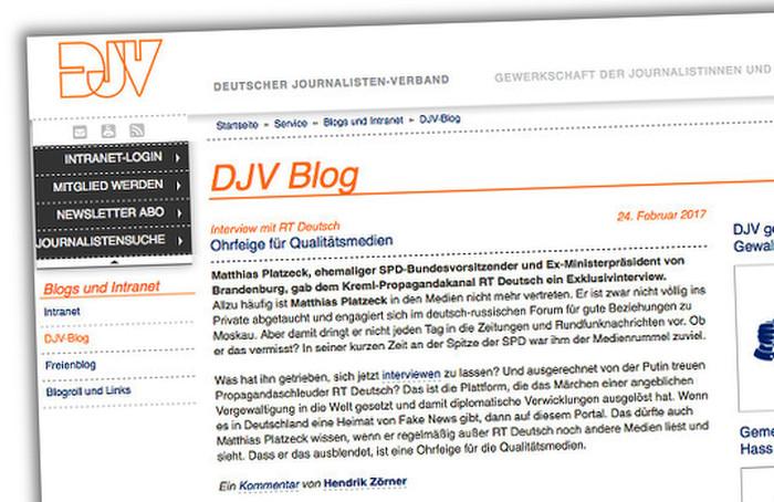 Screenshot eines inzwischen gelöschten Eintrags im DJV-Blog