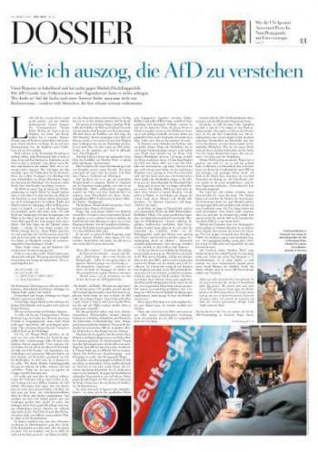 """Titelseite des """"Zeit""""-Dossiers """"Wie ich auszog, die AfD zu verstehen"""" von Malte Henk"""