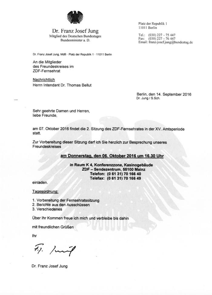Ex-Minister Jung lädt zum Freundeskreis im ZDF