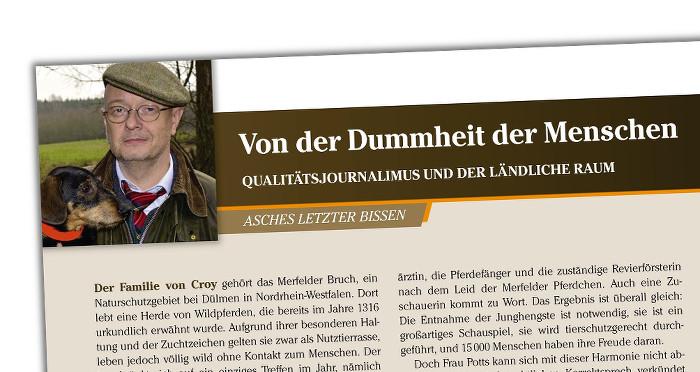 """Ausriss einer Zeitschriftenseite, oben links ein Bild des Autors mit Schiebermütze, Brille, Dackel, daneben die Titelzeile: """"Von der Dummheit der Menschen"""""""