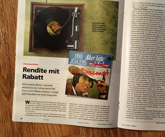 """Seite aus der Zeitschrift mit einem abgebildeten Plattenspieler und dem Cover von Udo Jürgens' Platte """"Aber bitte mit Sahne"""". Sahne wurde durchgestrichen und durch """"Discount"""" ersetzt. Überschrift daneben: Rendite mit Rabatt"""""""