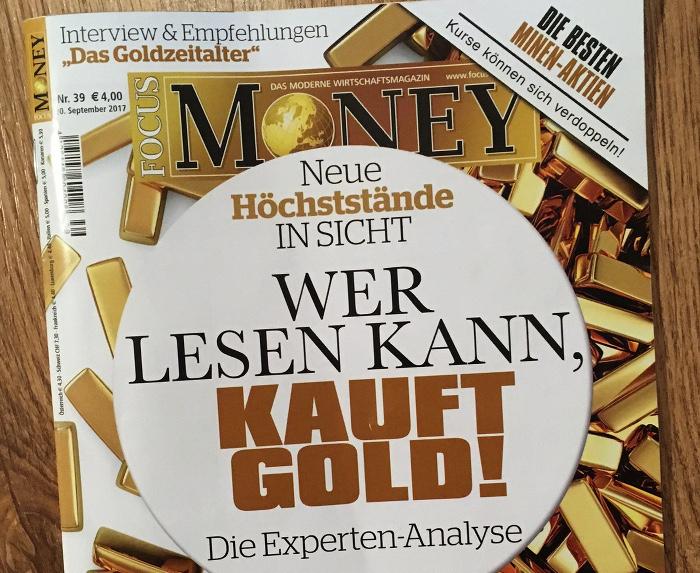 """Titelseite mit vielen Goldbarren und der Schlagzeile: """"Wer lesen kann, kauft Gold""""."""