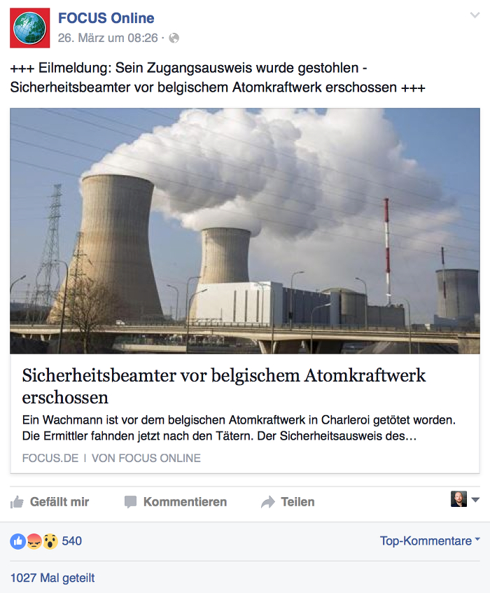 Screenshot: facebook.com/focusonline