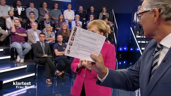 Moderator hält im Studion versehentlich seine Moderationskarte in die Kamera