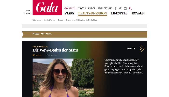 """Screenshot einer Seite auf """"Gala.de"""" mit einem Foto von Liz Hurley im lilafarbenen Bikini unter der Überschrift: """"Frauen über 40: Die Wow-Bodys der Stars"""""""