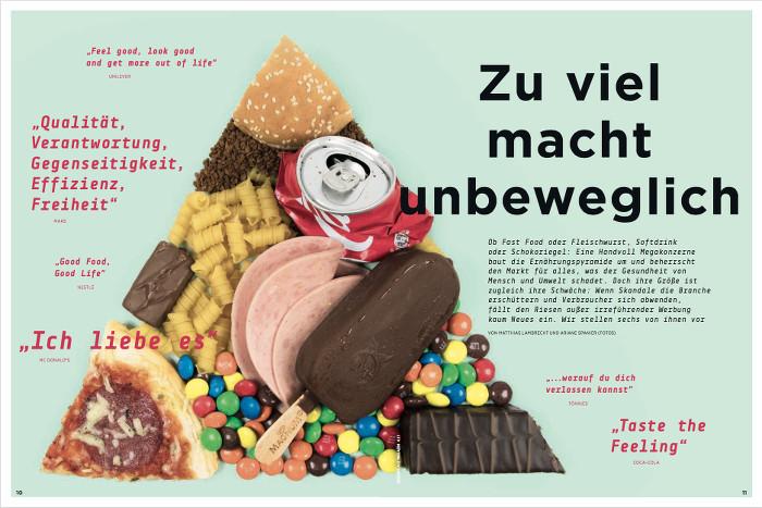 """Doppelseite aus dem """"Greenpeace-Magazin"""". Zu sehen ist ein Dreieck aus verschiedenen (eher ungesunden) Lebensmitteln wie Cola, Schokolade, Wurst, Überschrift: Zu viel macht unbeweglich"""""""