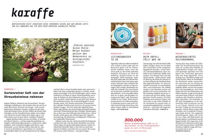"""Doppelseite aus dem """"Greenpeace-Magazin"""" mit einem Bericht über Streuobstsäfte."""