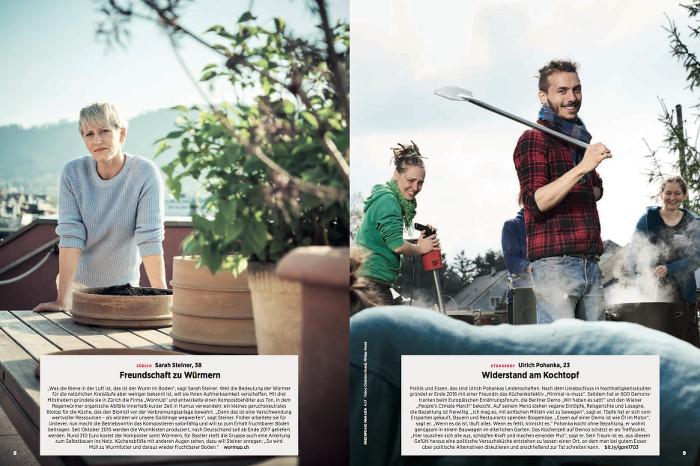 """Doppelseite aus dem """"Greenpeace-Magazin"""": Zu sehen sind eine Frau (links) im Pullover, die Kompostbehälter aus Ton herstellt und ein Mann im Karo-Hemd (rechts), der Demonstranten bekocht."""