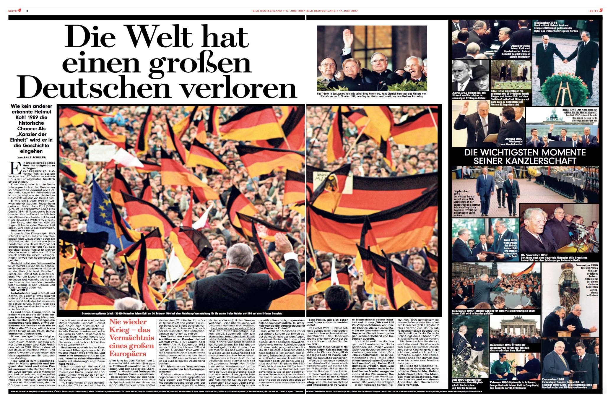 """Doppelseite aus """"Bild"""" vom 17.6.2017 mit vielen Fotos von Helmut Kohl und der Text-Überschrift: """"Die Welt hat einen großen Deutschen verloren"""""""