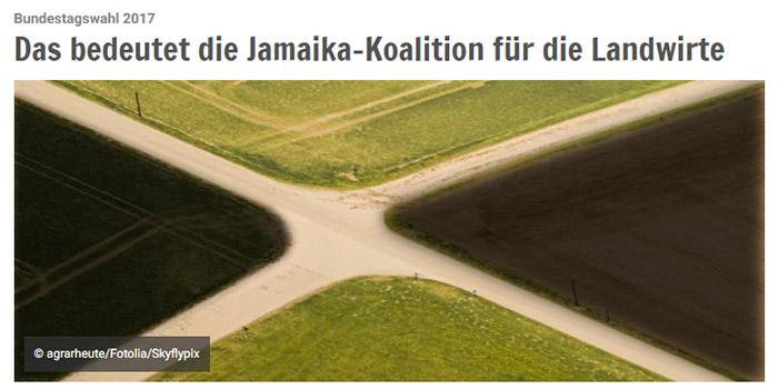 Felder aus der Vogelperspektive, die an eine Jamaika-Flagge erinnern