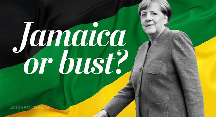 Angela Merkel vor einer schwarz-grün-gelben Flagge