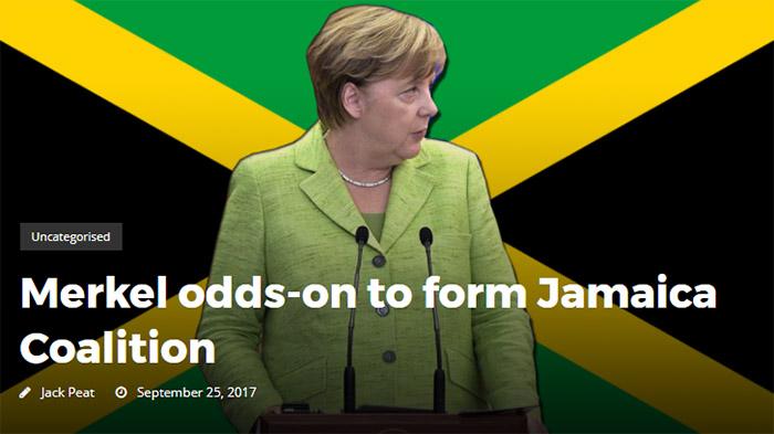 Angel Merkel vor einer Jamaika-Flagge