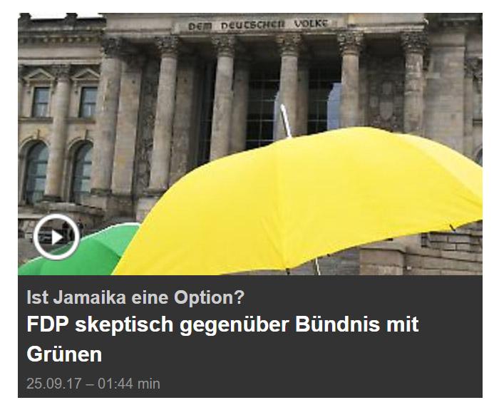 Grüner und gelber Regenschirm vor dem Reichstag