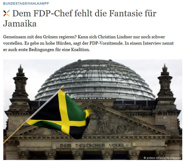 Jamaika-Flagge vor dem Reichstag