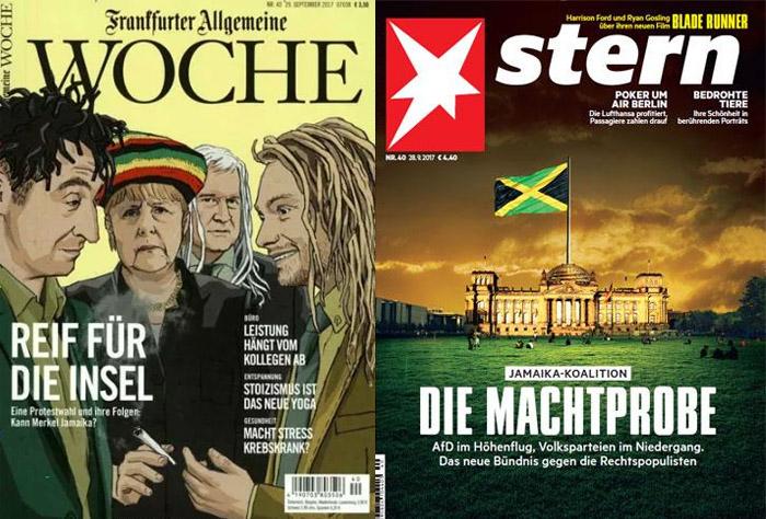 """Cover der """"Frankfurter Allgemeinen Woche"""": Gezeichnetes Bild mit Özdemir, Merkel, Seehofer und Lindner mit Dreadlocks und Joint, Überschrift: """"Reif für die Insel""""; Cover des """"Stern"""" mit gesphotoshopptem Bild: große Jamaika-Flagge auf dem Reichstagsgebäude"""
