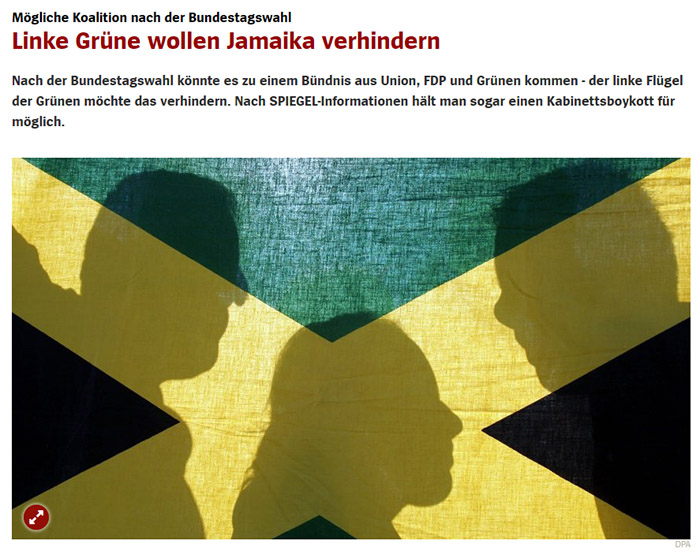 Jamaika-Flagge mit den Schatten dreier Köpfe