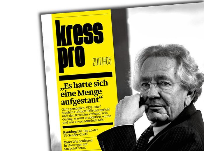 """Titel der Zeitschrift """"Kress Pro"""" mit einem Foto des designierten NRW-Medienministers Stephan Holthoff-Pförtner: Er sitzt, schaut nach links in die Kamera – graue, längere Haare, Brille, er fasst sich dabei leicht an die Wange mit der linken Hand."""