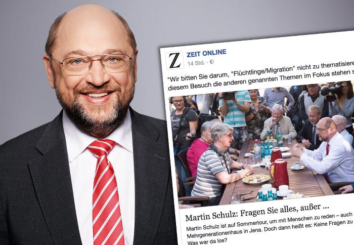 """Links ist Martin Schulz zu sehen, recht der Facebook-Post von """"Zeit Online"""" über ihn."""