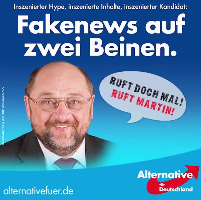 Facebook-Posting der AfD mit verfremdetem Foto von Martin Schulz
