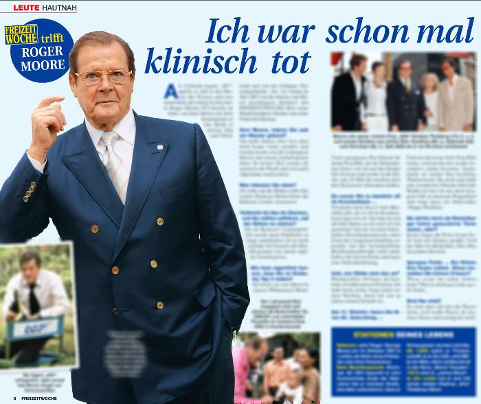 """Angebliches Interview mit Roger Moore in der """"Freizeitwoche"""""""