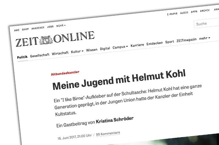 """Nachruf von Kristina Schröder auf Helmut Kohl auf Zeit.de, Überschrift: """"Meine Jugend mit Helmut Kohl"""""""