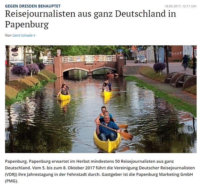 Reisejournalisten aus ganz Deutschland in Papenburg [dazu ein Foto von Journalisten auf Kanutour]