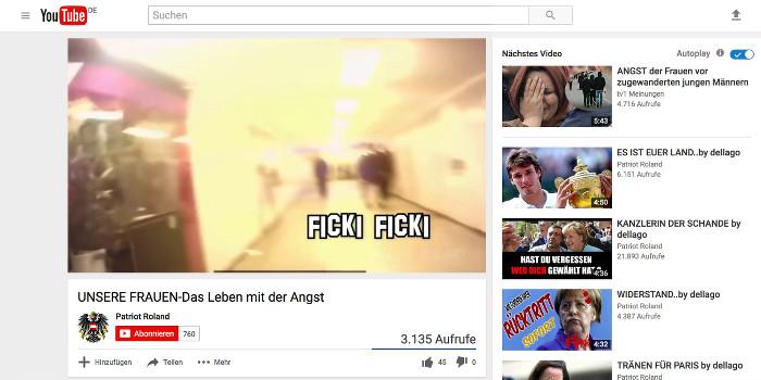 """Standbild aus einem Video von """"Patriot Roland"""" auf Youtube: Zu sehen ist offenbar eine U-Bahn-Station, entfernt Männer und dazu der Schriftzug: """"Ficki Ficki"""""""