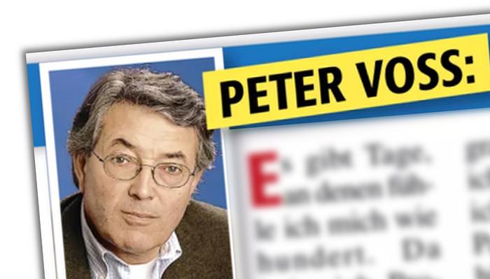 """Ausriss mit Foto aus der Kolumne von """"Peter Voss"""" in der """"Neuen Welt"""""""