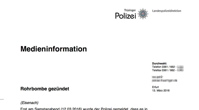 Medieninformation der Polizei