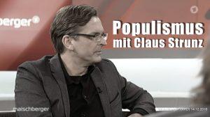 """Mann mit braun-blonden Haaren, Sakko, schwarzem Hemd und Brille schaut nach links auf den Schriftzug: """"Populismus mit Claus Strunz"""""""