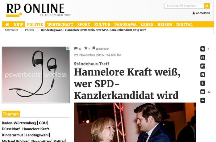 """Ausriss """"Rheinische Post"""" 29.11.2016"""