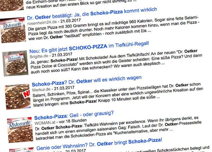 Screenshot Google News zur Schoko-Pizza von Dr. Oetker