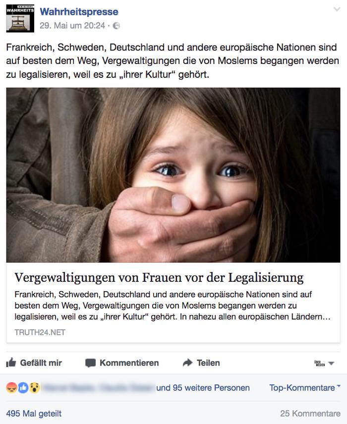 """Screenshot eines Facebook-Postings des Users """"Wahrheitspresse"""". Auf dem Foto ist ein weinendes Mädchen zu sehen, dem von einem Mann der Mund zugehalten wird. Überschrift: """"Vergewaltigungen von Frauen vor der Legalisierung"""""""