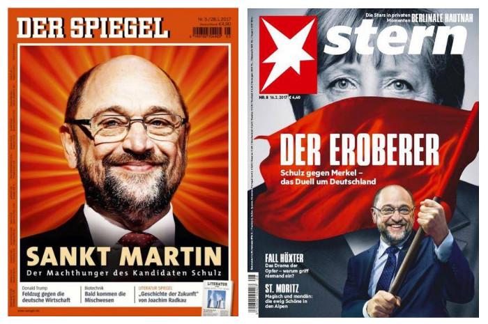 """Zwei Cover. Der """"Spiegel"""" titelt """"Sankt Martin"""" auf einen Foto von Martin Schulz mit Strahlen um den Kopf. Auf dem titel des 2Stern"""" schwenkt Schulz eine rote Fahne vor einer schwarz-weißen Angela Merkel, Schlagzeile: """"Der Eroberer""""."""