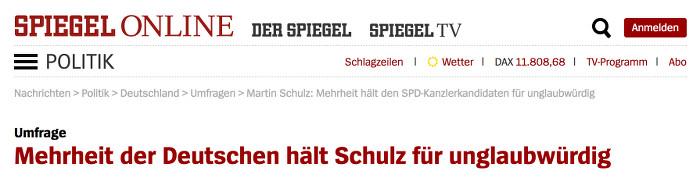 """Ausriss aus einem Artikel von """"Spiegel Online"""" mit der Überschrift """"Mehrheit der Deutschen hält Schulz für unglaubwürdig"""""""