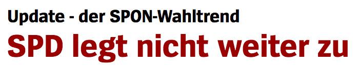 """Überschrift """"Spiegel Online"""": """"SPD legt nicht weiter zu"""""""