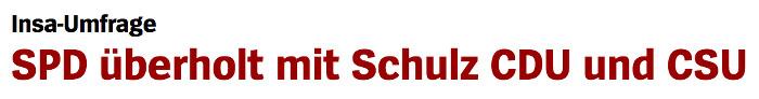"""Überschrift """"Spiegel Online"""": """"SPD überholt mit Schulz CDU und CSU"""""""