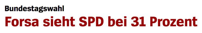 """Überschrift """"Spiegel Online"""": """"Forsa sieht SPD bei 31 Prozent"""""""