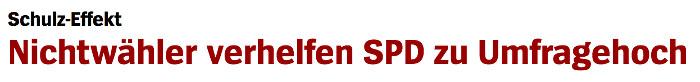 """Überschrift """"Spiegel Online"""": """"Nichtwähler verhelfen SPD zu Umfragehoch"""""""