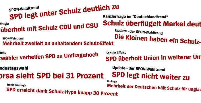 """Collage aus """"Spiegel Online""""-Überschriften zum Umfrage-Erfolg der SPD"""