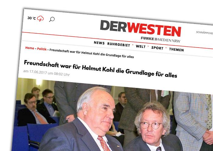 """Stephan Holthoff-Pförtner schreibt über seinen Freund Helmut Kohl: """"Freundschaft war für Helmut Kohl die Grundlage für alles"""""""