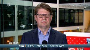 Standbild aus einem ZDF-Interview mit Ralf Stegner (SPD), auf dem er die Auge fast geschlossen hat.