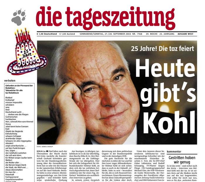 """Titelseite der """"taz"""" von 2003 mit einem Foto von Helmut Kohl, Überschrift: """"Heute gibt's Kohl"""""""