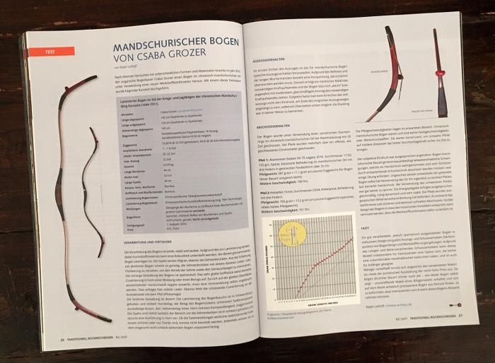 """Doppelseite aus dem Magazin """"Traditionell Bogenschießen"""", auf der verschiedene Bögen erklärt werden"""