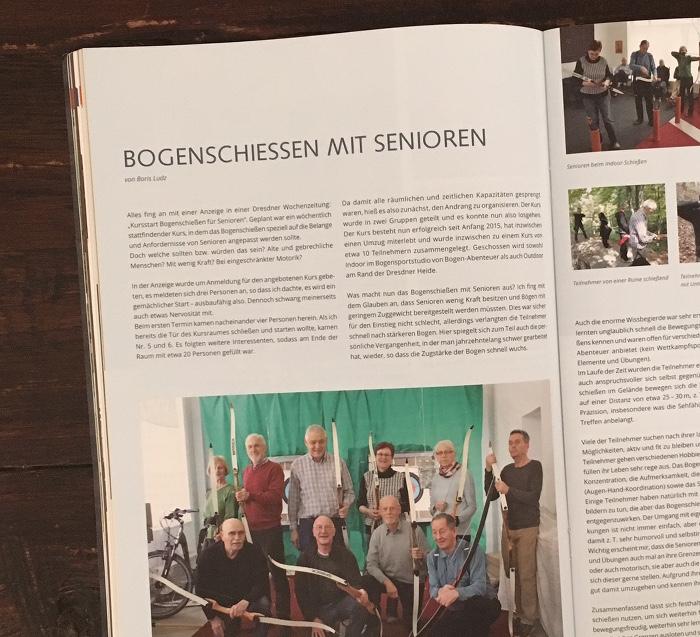 """Seite aus dem Magazin """"Traditionell Bogenschießen"""""""
